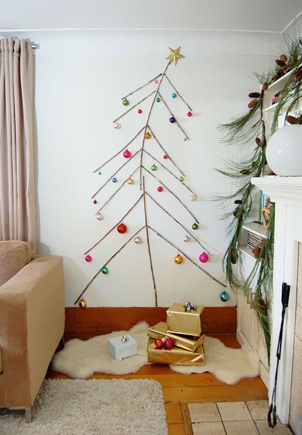 Новогодняя елка дизайн на стене