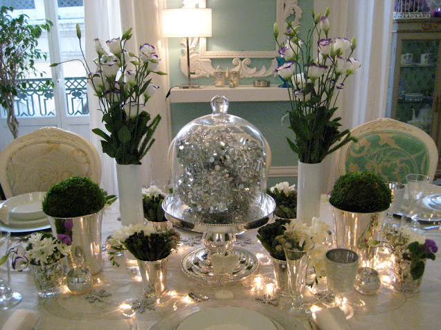 Новогодний стол - фото в стиле Зимняя сказка