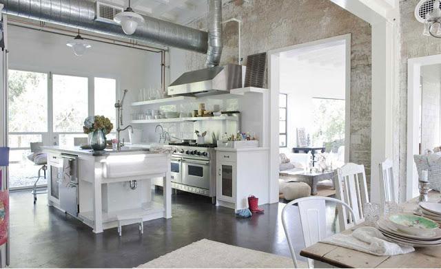 шебби-шик кухня с островом