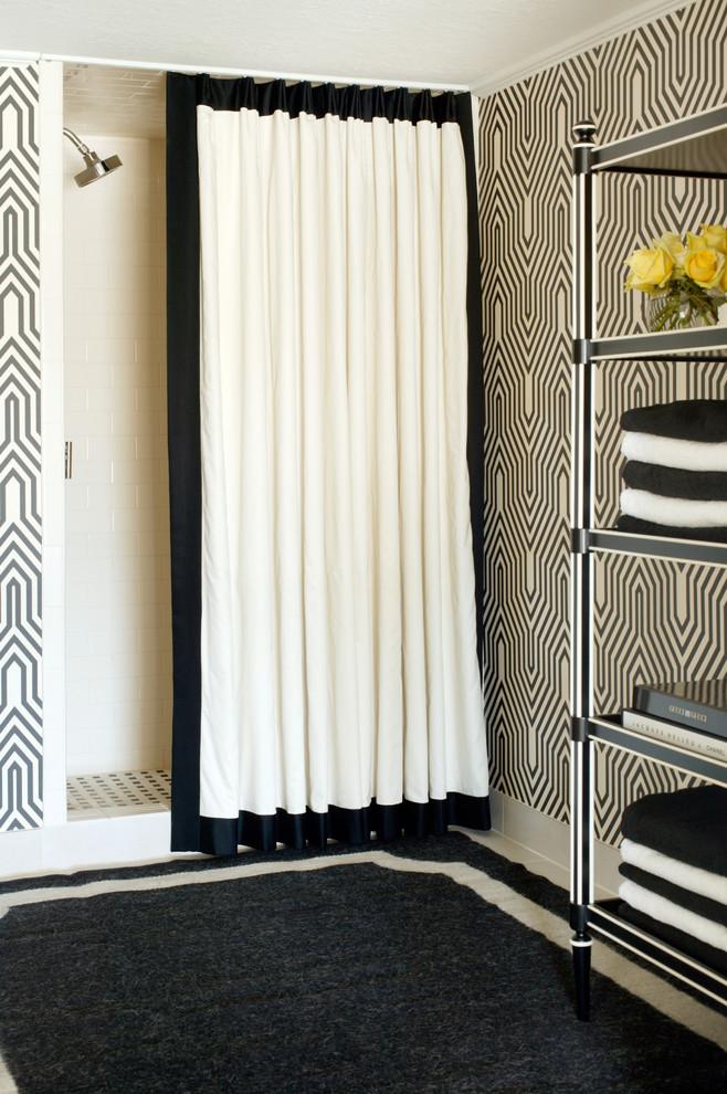 дизайн ванной в черно белом цвете
