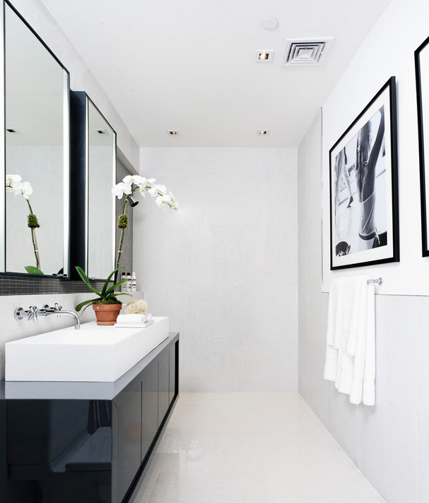 черно белая ванна с фотографией