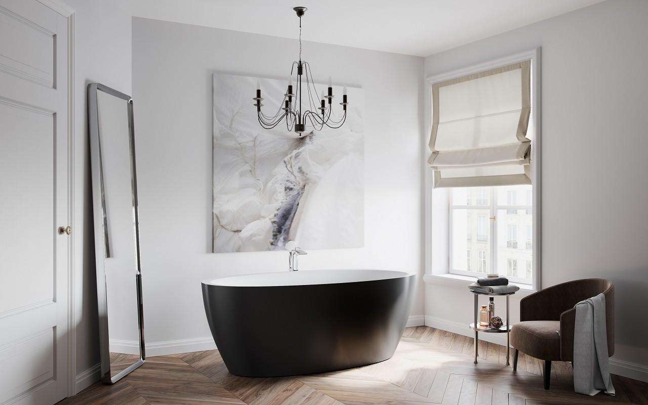 овальная черно-белая ванна из искусственного камня Sensuality