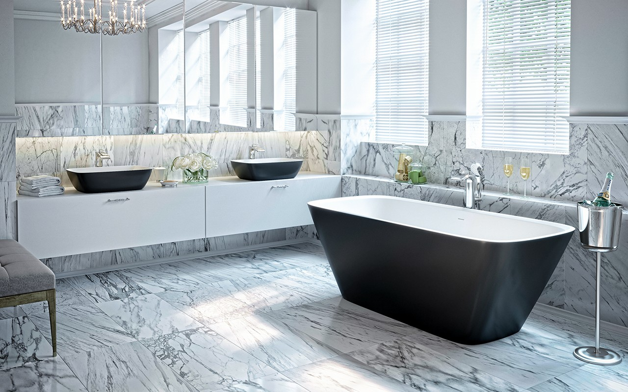 прямоугольная черно-белая каменная ванна Arabella