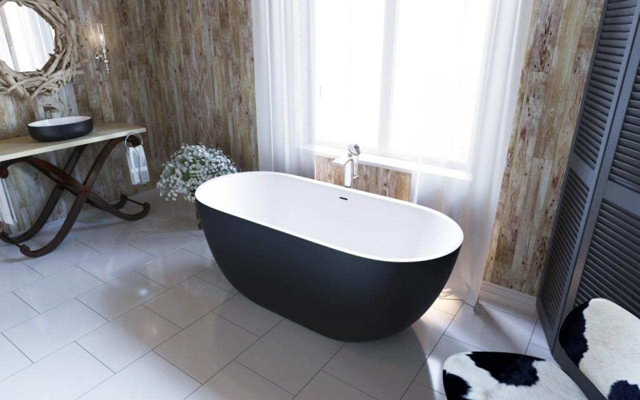 овальная каменная ванна в черно-белых тонах Corelia