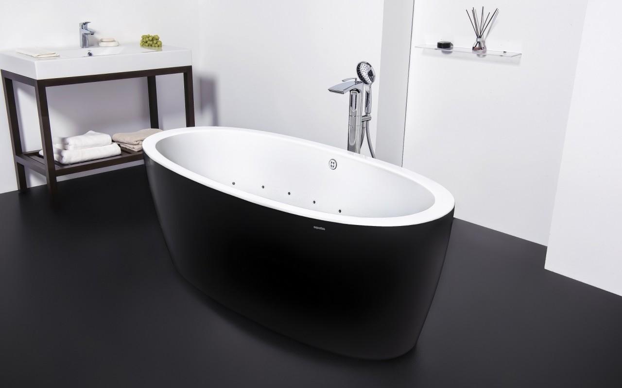 черно-белая ванна из акрила с аэромассажем Purescape 174A