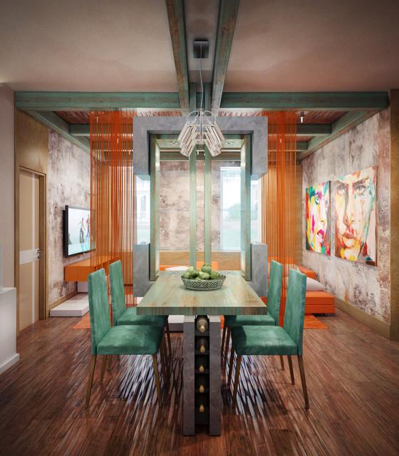 Яркие веревочные шторы в интерьере комнаты