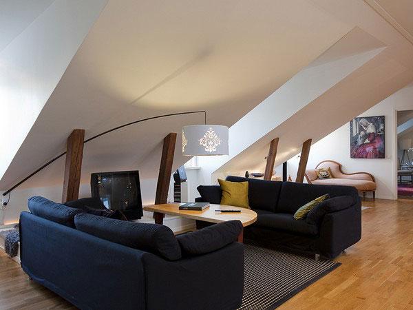 Интерьер мансарды с низким потолком