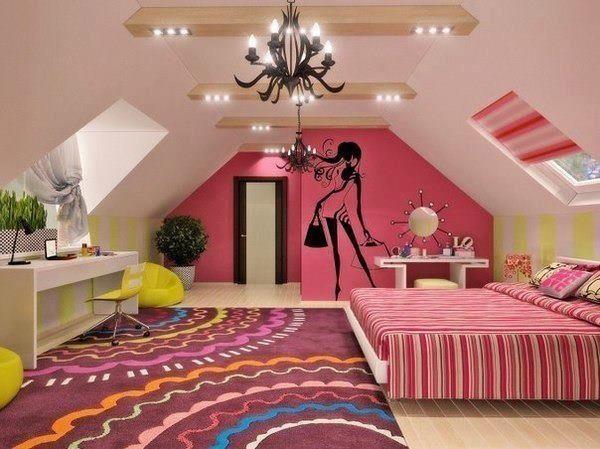 Стильная спальня на мансардном этаже