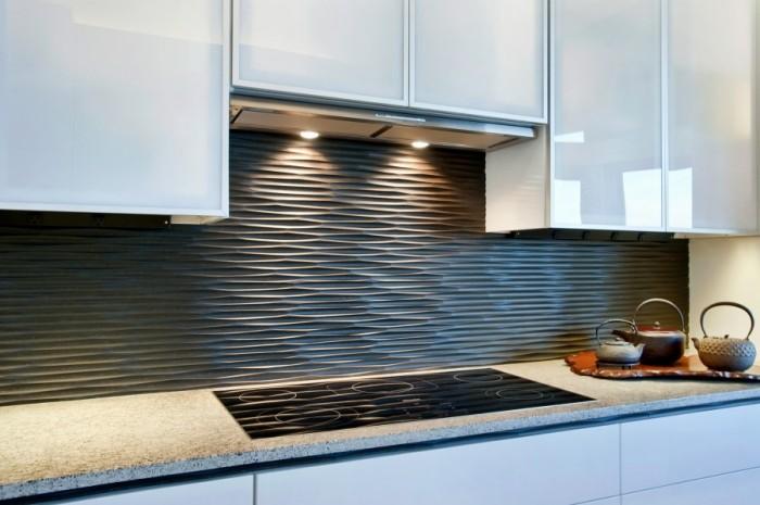 Текстурный фартук для кухни графитного цвета