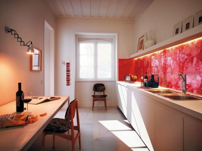 Ярко-красный кухонный фартук