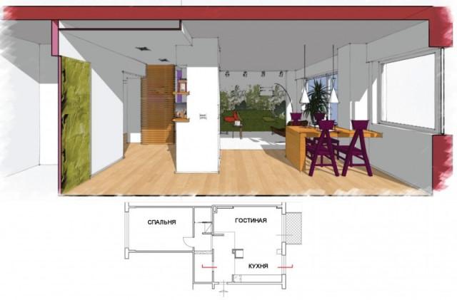 План перепланировки двухкомнатной квартиры