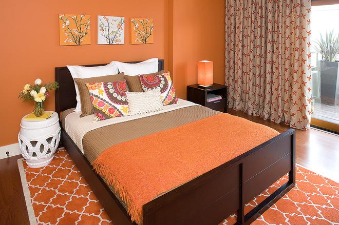 оранжевый интерьере