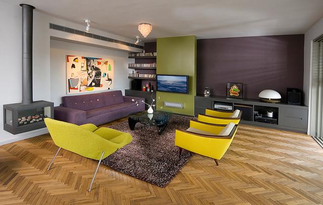 Элементы ретро дизайна в интерьере современной гостиной