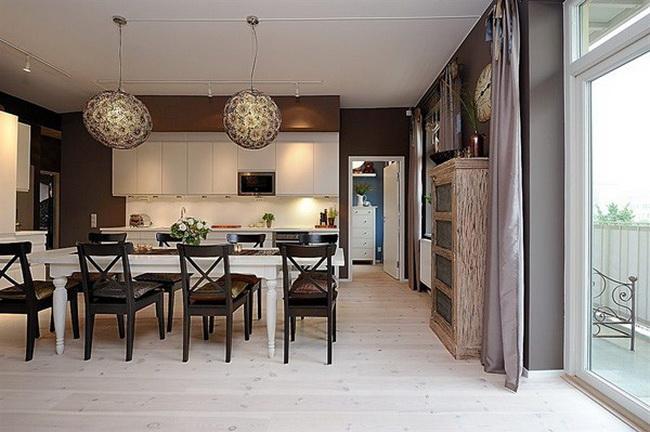 столовая совмещенная с кухней
