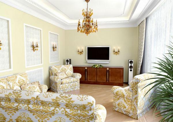 интерьер современной гостиной барокко