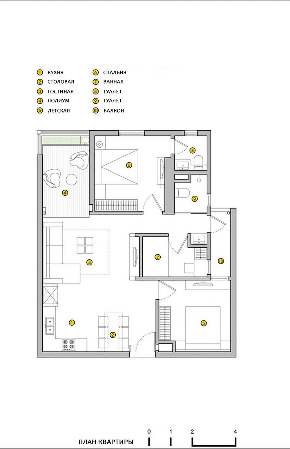 план уютной трехкомнатной квартиры