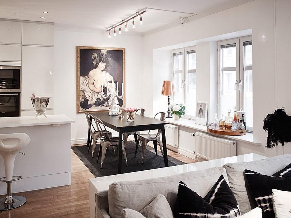 Восхитительный проект двухкомнатной квартиры - гостиная объединенная с кухней