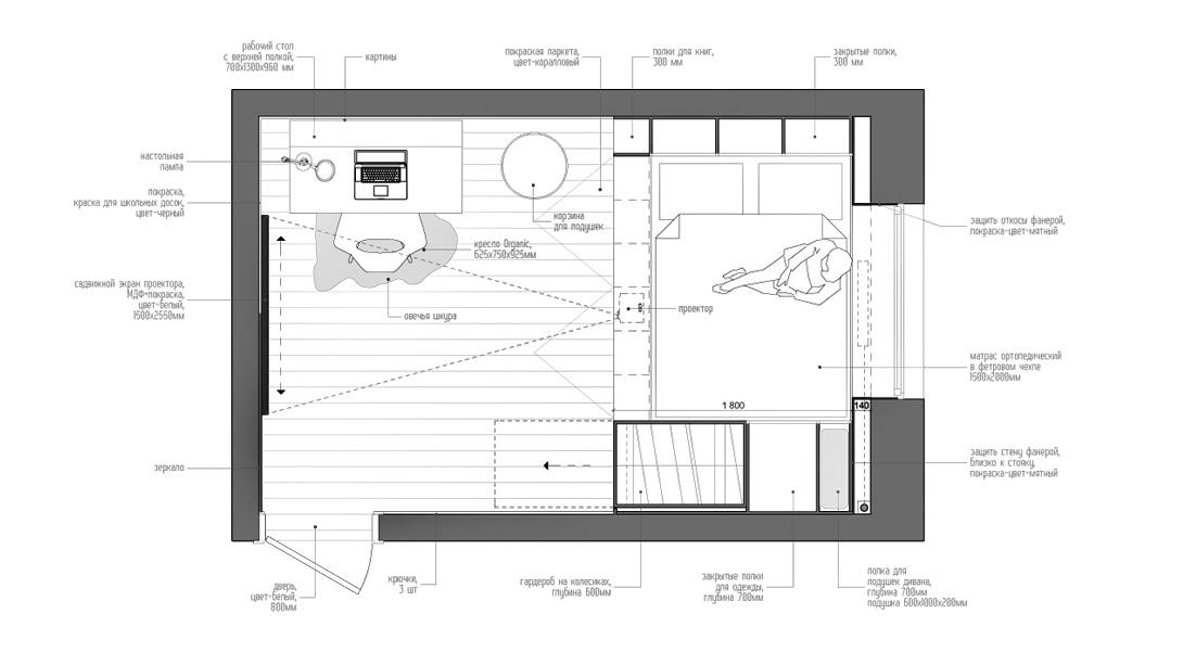 Дизайн комнаты 14 кв. м  фото (8)