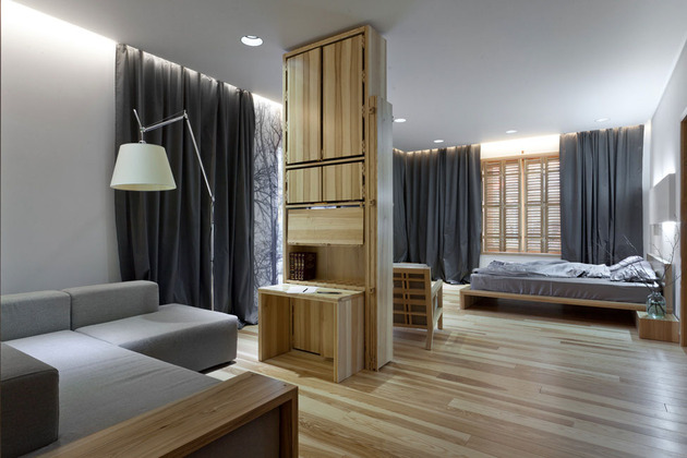 Эко интерьер квартиры с открытой планировкой (13)