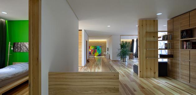 Эко интерьер квартиры с открытой планировкой (18)