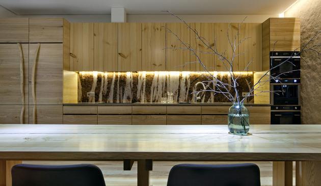 Эко интерьер квартиры с открытой планировкой (5)