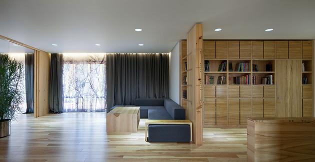 Эко интерьер квартиры с открытой планировкой (8)