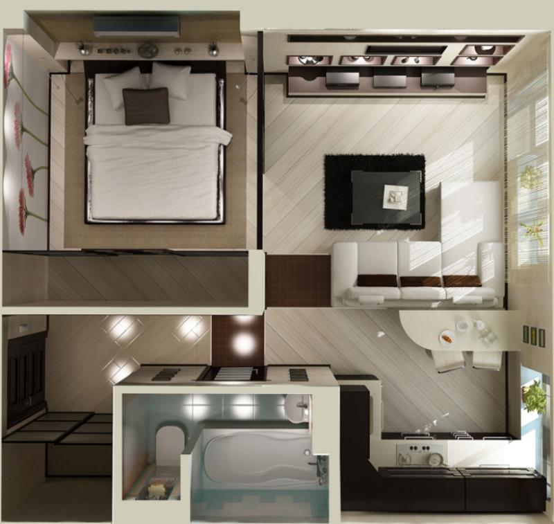 Дизайны 1 комнатных квартир хрущёвки фото