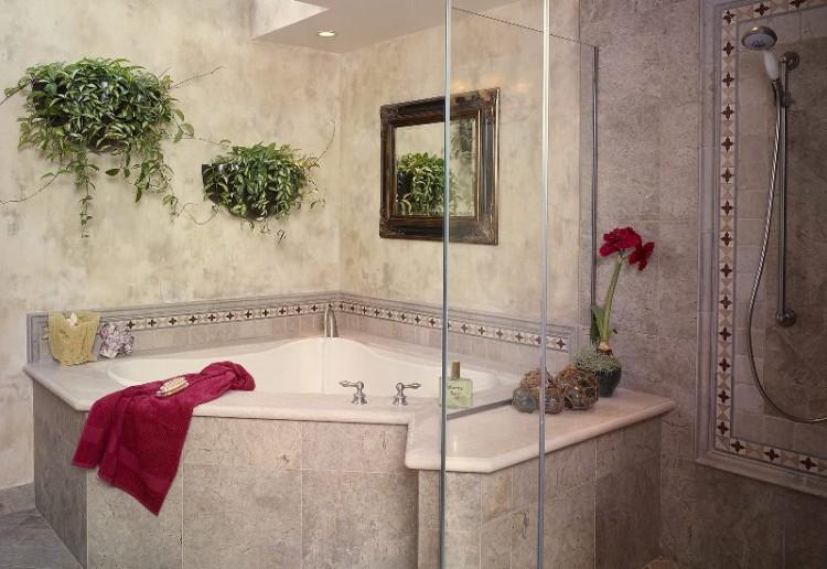 дизайн ванной комнаты с угловой ванной с плиткой фото