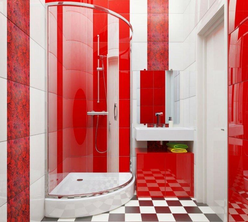ванная комната в красно белых тонах дизайн