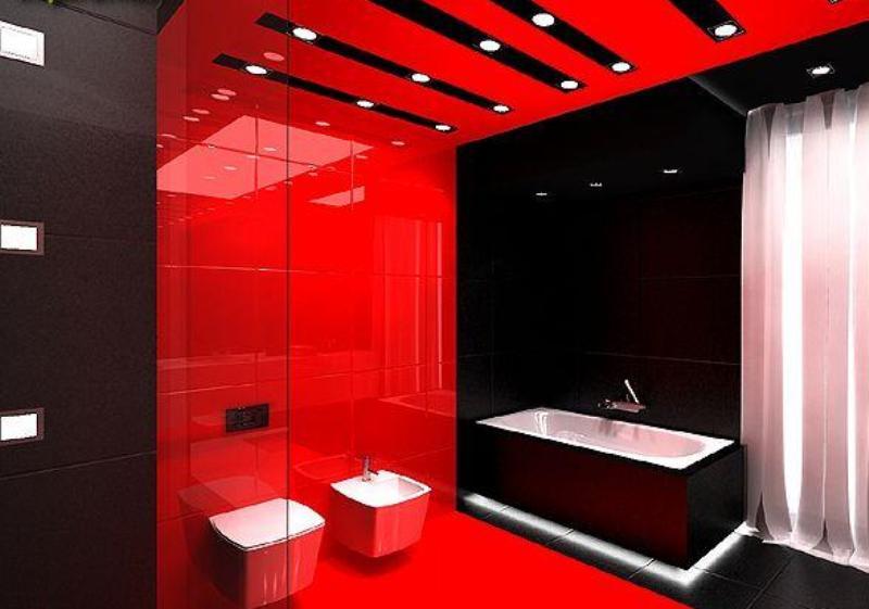 Дизайн красной ванной фото