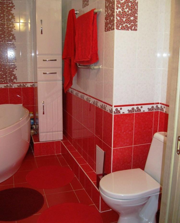 Дизайн ванной комнаты красной фото