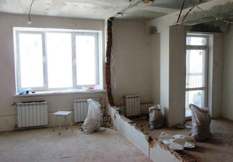 снос ненесущей стены в квартире