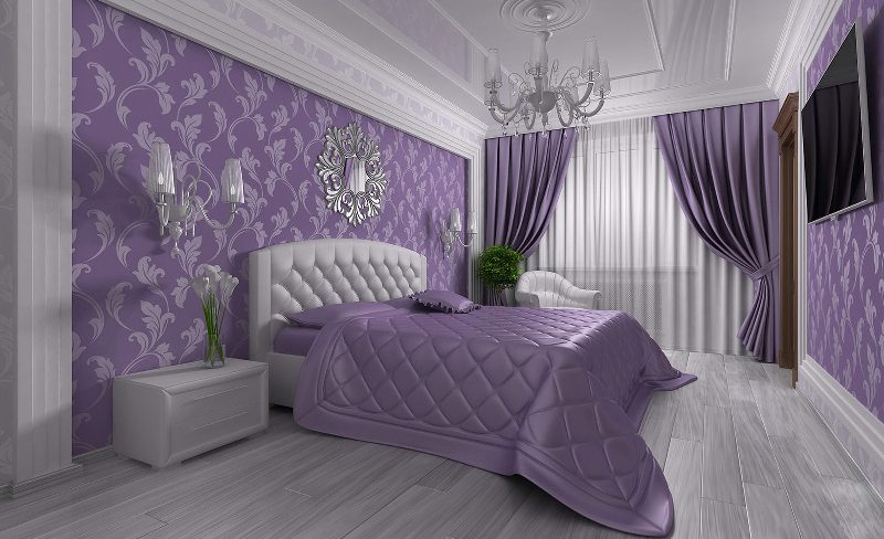 Fioletovyiy-tsvet-v-interere-spalni-----osnovnyie-pravila-otdelki 8