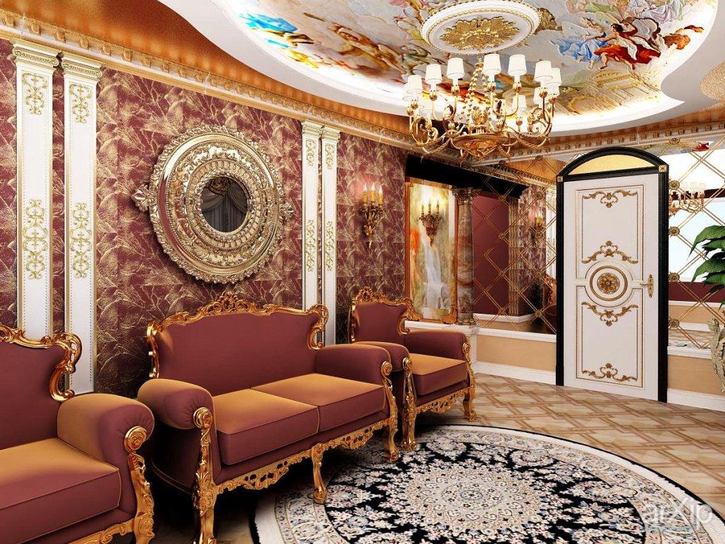 Белые двери и гостиной комнате