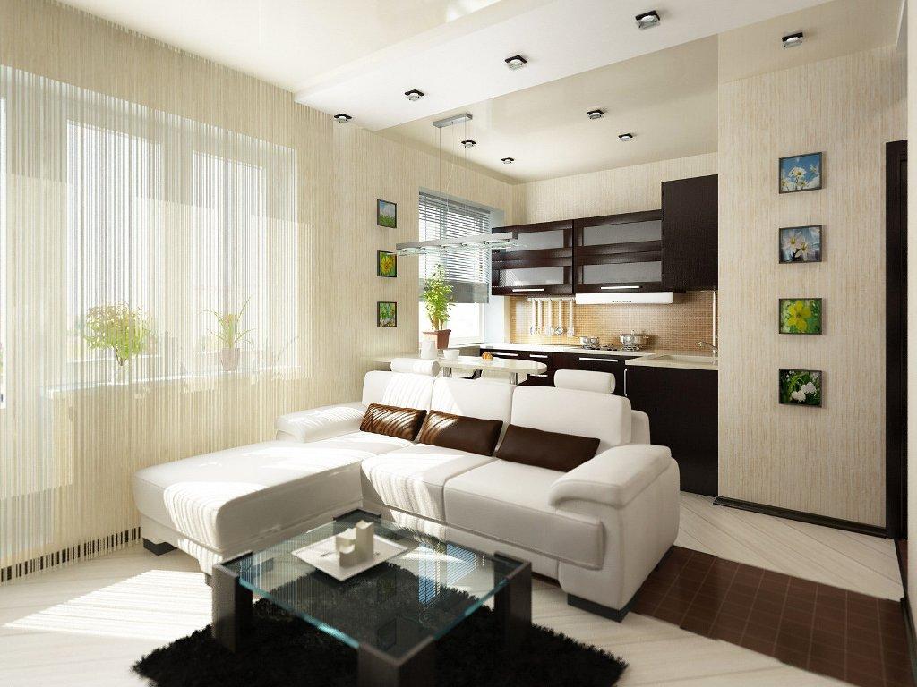 Белый ламинат в гостиной комнате