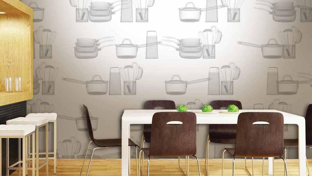 Тематические обои для кухни в дизайне интерьера